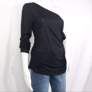 1State Black One Shoulder Long Sleeves Ruffles SzM
